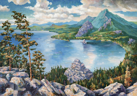 Picturesque Lake Borovoye in Kazakhstan. An oil painting on canvas.
