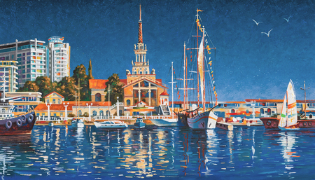 Yachts on the background of the seaport of Sochi on a clear day. Painting: canvas, oil.