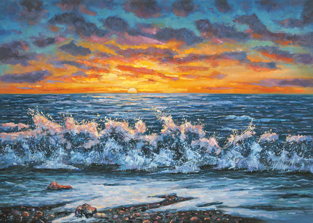 A bright sunset during a storm. An oil painting on canvas. Archivio Fotografico