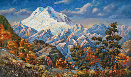 On a picturesque canvas depicts a string of Caucasian mountains in the early morning. Resting in the Elbrus region, I wrote this picturesque painting in nature. The Caucasian mountains are famous for the fact that here the wild nature and peaks of the mountains are pointed. Фото со стока