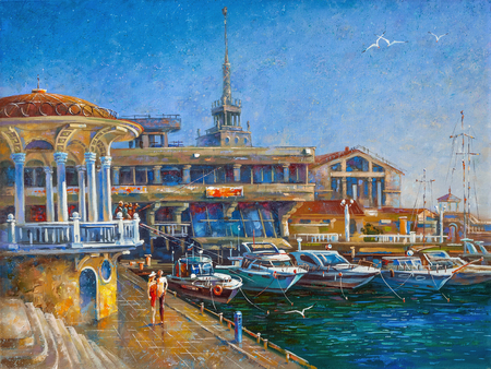 I like to depict the architectural landscape of the beloved city of Sochi. Archivio Fotografico