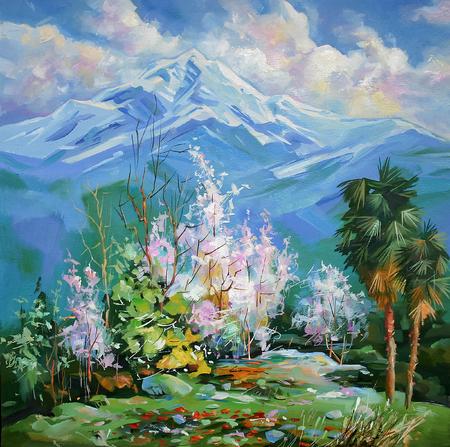Op het schilderachtige doek is een uitzicht vanuit het raam van mijn huis te zien. Ik schilderde een schilderij vanaf het balkon. Quince groeit overal in de badplaats Sochi in het wild. De palmen die aan de rechterkant staan, zijn mijn geplante bomen