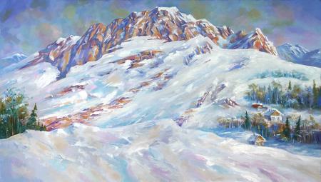 En el lienzo pintoresco hay una vista del legendario Monte Fisht. Mount Fisht es conocido en la región de Krasnodar porque una gran población de cabras montesas salvajes vive cerca y vive un leopardo de las nieves. Foto de archivo