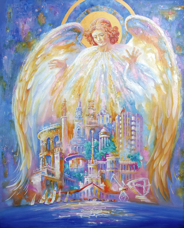Angel-Guardian of the resort city of Sochi. Architectural landscape of the beloved city. Picturesque painting: oil on canvas. Author: Nikolay Sivenkov.