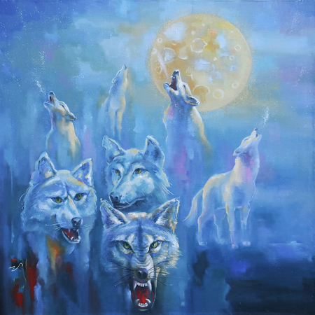 A pack of wolves in the cold winter. Picturesque picture: oil on canvas. Author: Nikolay Sivenkov. Stockfoto