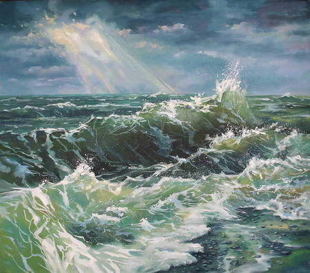 Seascape, large wave during the storm. Painting: canvas, oil. Author: Nikolay Sivenkov. Stockfoto
