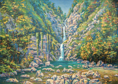 Mountainous summer landscape with a three-stage waterfall Nameless. Sochi National Park.Painting: oil on canvas. Author: Nikolay Sivenkov.