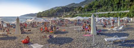 Mamaika, Sochi, Russia - July 22, 2018: People swim and sunbathe. Editorial