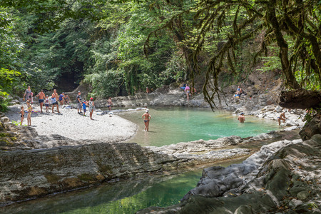 SOCHI, RUSSIA - JULY 25, 2018: Canyon of the river Dagomys on a day off. Redactioneel