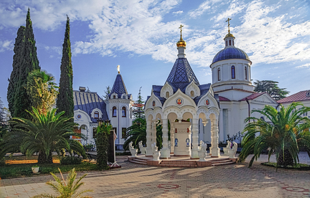 RUSSIA, SOCHI - SEPTEMBER 28, 2015: Arbor with holy water in the temple of Michael the Archangel.