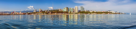 SOCHI, RUSSIA - FEBRUARY 23, 2016: Panoramic view of the city from the sea. Editorial