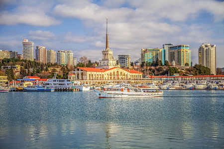 SOCHI, RUSSIA - FEBRUARY 23, 2016: Boats and yachts in the seaport. Editorial