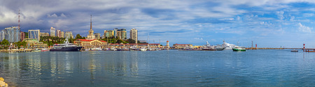 SOCHI, RUSSIA - SEPTEMBER 5, 2015: Panorama of the Sailing Center on the background of city.