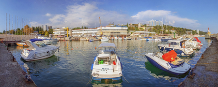 RUSSIA, SOCHI - SEPTEMBER 5, 2015: Boats and yachts in the Sailing Center.