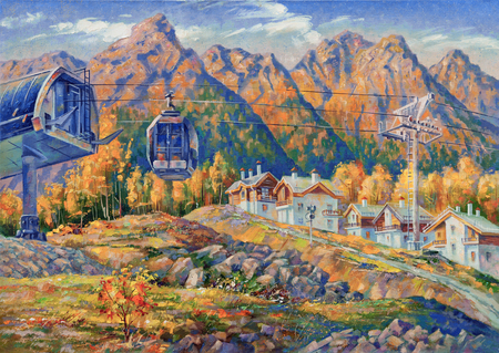 An oil painting on canvas. Ski lift at the ski resort of Rosa Khutor.Mountain landscape in bright and juicy tones. Author: Nikolay Sivenkov.