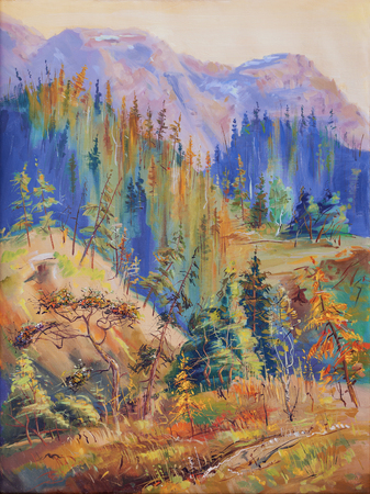 Autumn in the mountains of Taimyr Peninsula. Artistic work in bright and juicy tones. Painting: oil on canvas. Author: Nikolay Sivenkov.