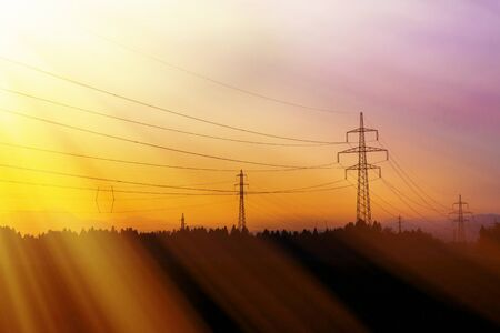 electrical tower: Electrical power lines. Electrical power and energy. Alternative energy Stock Photo