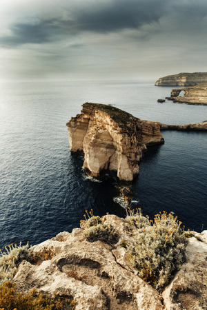window view: Panoramic view of the Azure window and Fungus rock on the island Gozo, Malta. Tourist attraction from above.
