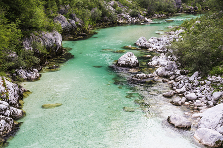 wilderness: Beautiful wild river in the national park. Emerald color river flows through unspoiled nature. Wilderness all around.