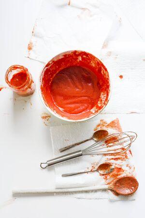 tomato puree: Preparing stores for the winter. Making tomato puree.