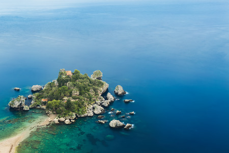Isola Bella - Beautiful island below the ancient city Taormina - Sicily Stock Photo