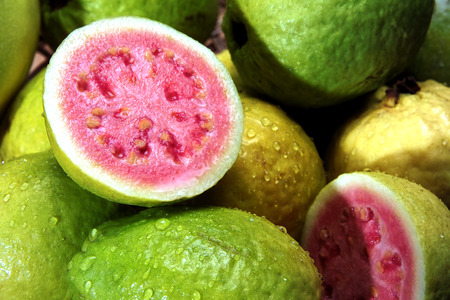 guava fruit: guavas with water droplets