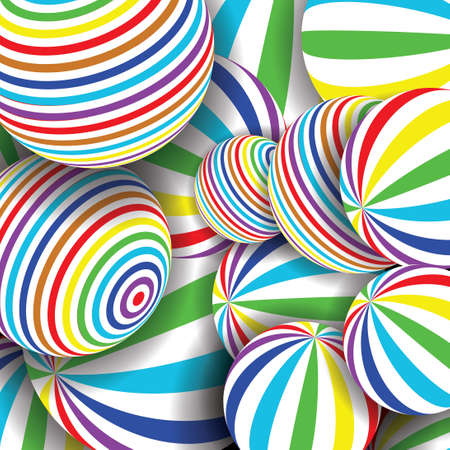 Many striped balls 3D. Colorful abstract background. Vector spiral diagonal swirls sphere with optical illusion effect. Modern 3D artistic background concept.