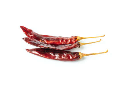 Dried red hot chili isolated on white background.