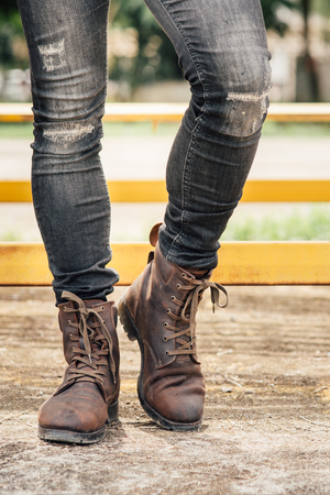Men fashion, brown leather boots