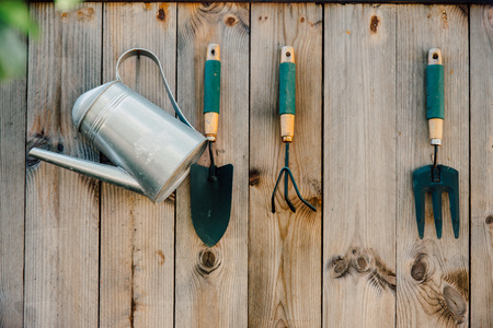 Garden tools hanging and watering on wood background with vintage feel