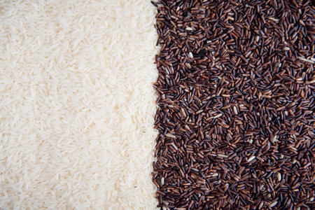 basmati rice, white rice, riceberry, rice background Stock Photo