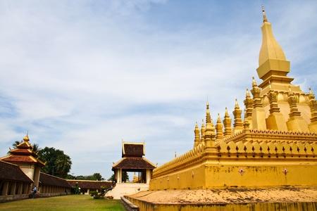 Golden pagada in Wat Pha-That Luang, Vientiane, Laos Stock Photo