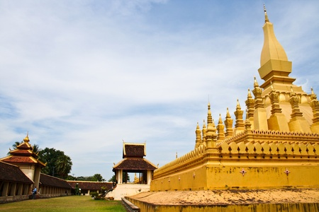 Golden pagada in Wat Pha-That Luang, Vientiane, Laos Stock Photo