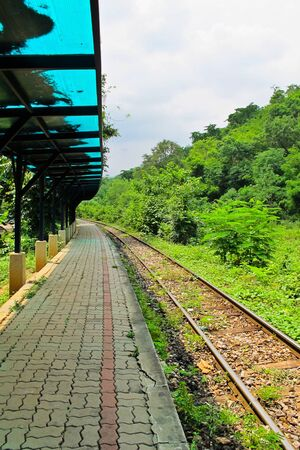 Old  train station in countryside , Kanchanaburi in Thailand photo