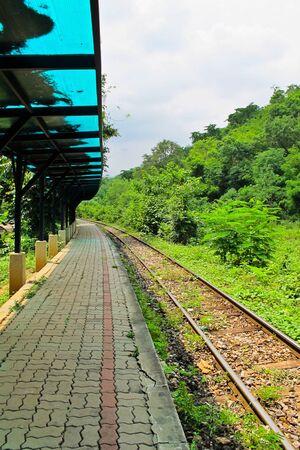 Old  train station in countryside , Kanchanaburi in Thailand photo