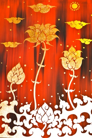 Gold flower painting in red background photo
