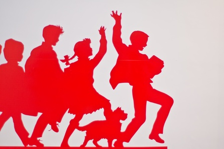 have fun: The red abstract people have fun