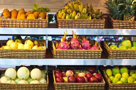 Many kinds of fruit in the basket. Sold in the market Stock Photo