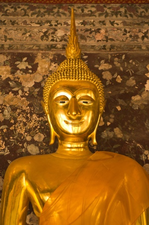 Closeup of golden buddha in Sutuch temple ,in Bangkok Thailand photo