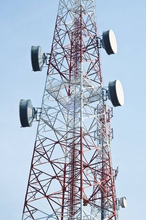 elecommunication tower with antennas  photo