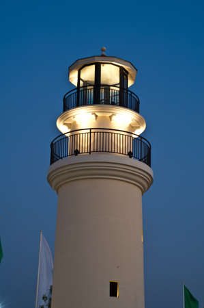 Lighthouse with lighting in the evening,Thailand photo
