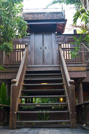 Stair and door of thai style house photo