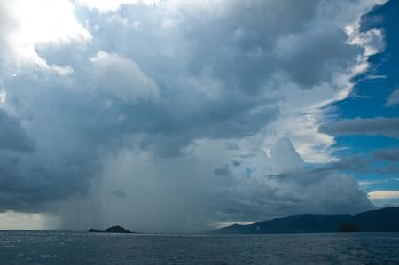 Group of rain falling in  andaman  sea,Thailand photo