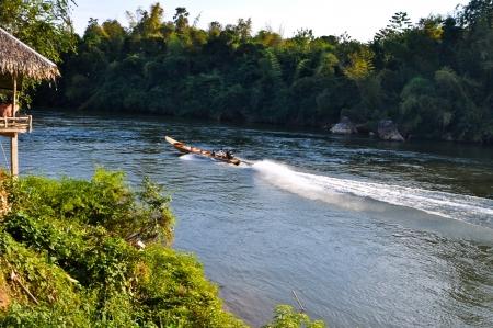 Local travel boat in the river kwai ,Kanchanaburi  Thailand Stock Photo