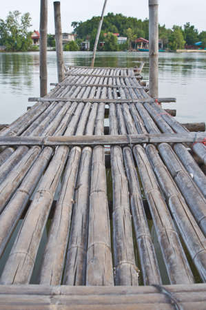 Old bamboo wooden bridge photo