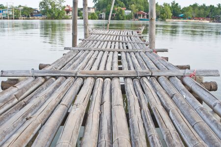 Line of bamboo bridge photo