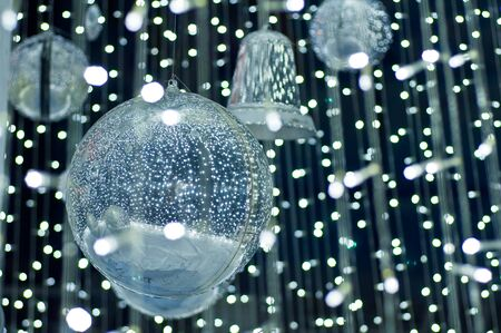 Silver balls with lighting photo