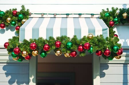 Christmas ornament decorated on canvas roof photo