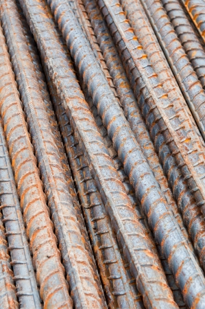 Rust steel rod or bars in construction site photo
