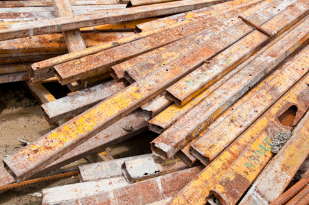 joist: Steel box for construction on site Stock Photo